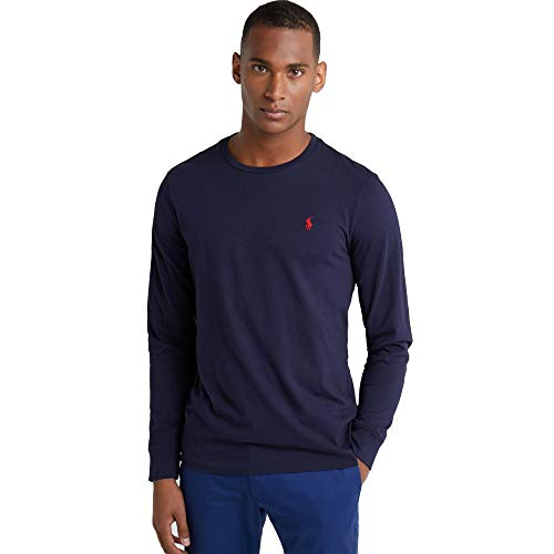 Ralph Lauren Camiseta de Manga Larga para Hombre Custom Fit (S, Azul Marino)