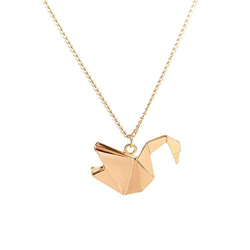 HWL Collares para Las Mujeres, Collar Pendiente del Collar del Pájaro De Mil Grullas De Papel De Origami Collar De La Paloma Largo Animal para Regalos De Cumpleaños del Partido,Oro