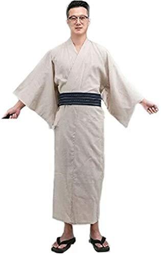 Double Villages Herren Japanisch Yukata Kimono Robe Pyjama Yukata Bademantel Robe (L, Beige)