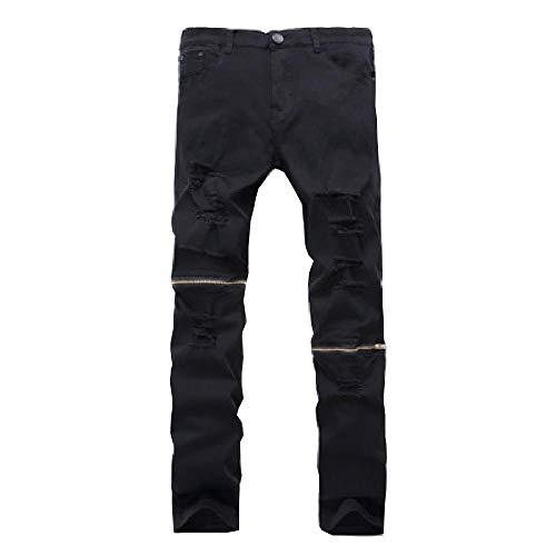 Pantalones Vaqueros Rasgados Blancos para Hombre con Agujeros Pantalones Vaqueros con Cremallera Ajustados de Marca de diseñador Famoso Slim Fit Destroyed Jeans