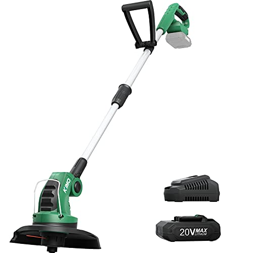 """KIMO Weed Wacker, 20V Cordless String Trimmer/Edger w/ 2.0Ah Lithium-ion Battery & Charger, Telescopic Rod, 10"""" Weed Eater, 3.5lbs Lightweight Lawn Edger for Garden Flowerbeds Grass Trimming"""