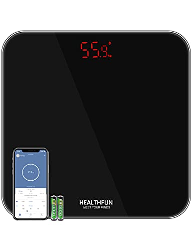 Báscula Personal BMI Báscula Corporal Báscula con Aplicación, Báscula de Baño HEALTHFUN con Pantalla LED y Tecnología Step-on, KG / LB / ST 3 Unidades Para Cambiar, Medida de 5kg a 180 kg