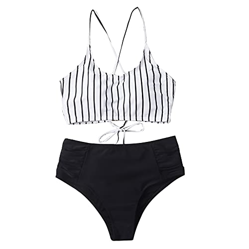 2021 Moda Mujer Bikinis con Estampado de Rayas Bañadores Sexy de Vendaje Traje de Baño con Relleno Retirable Ropa de Baño Atractivo para Mujer Conjunto de Ropa de Playa Ideal para Piscina,Playa,Mar