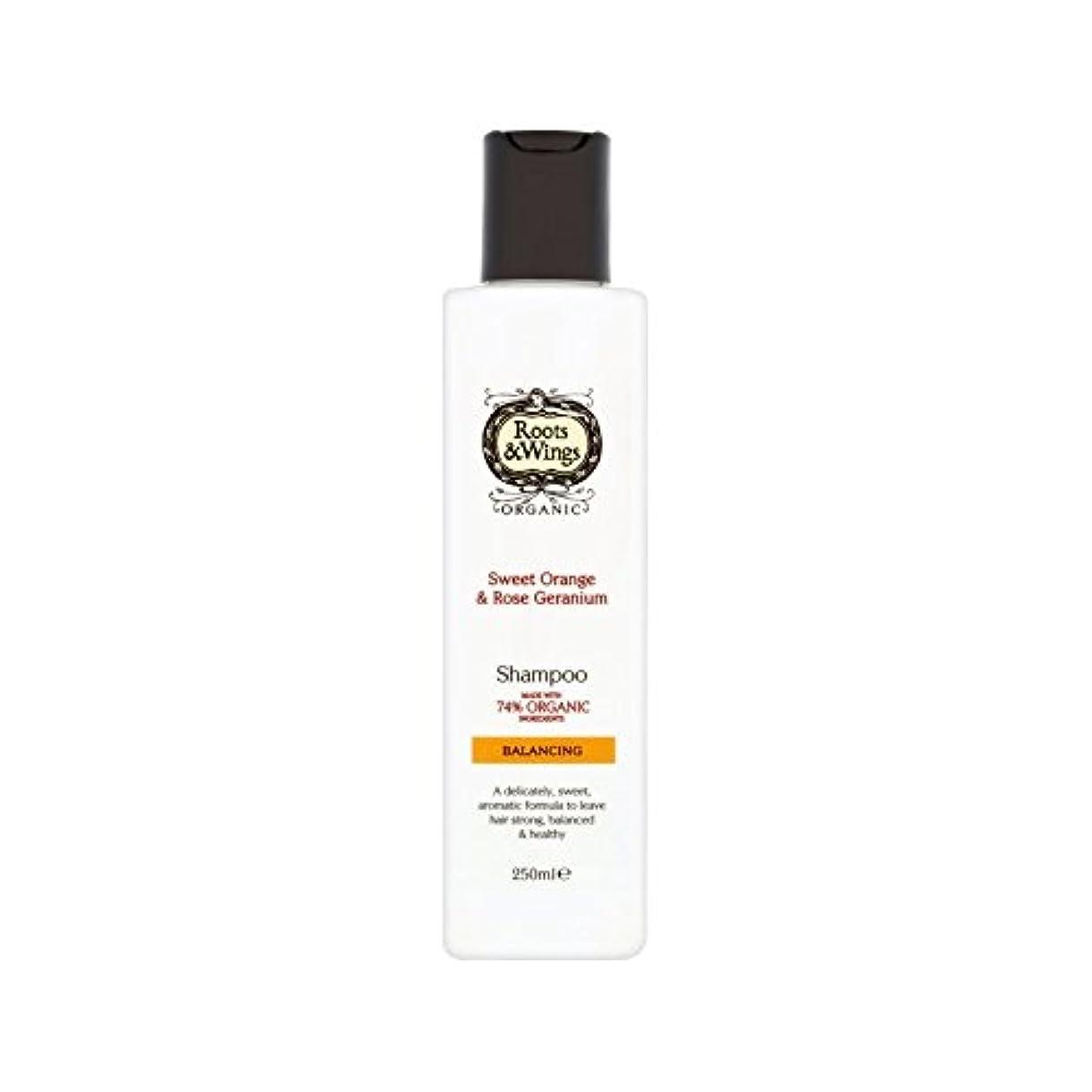 スツールパン咲くスイートオレンジ&ゼラニウムのシャンプー250ミリリットルをバラ (Roots & Wings) - Roots & Wings Sweet Orange & Rose Geranium Shampoo 250ml [並行輸入品]
