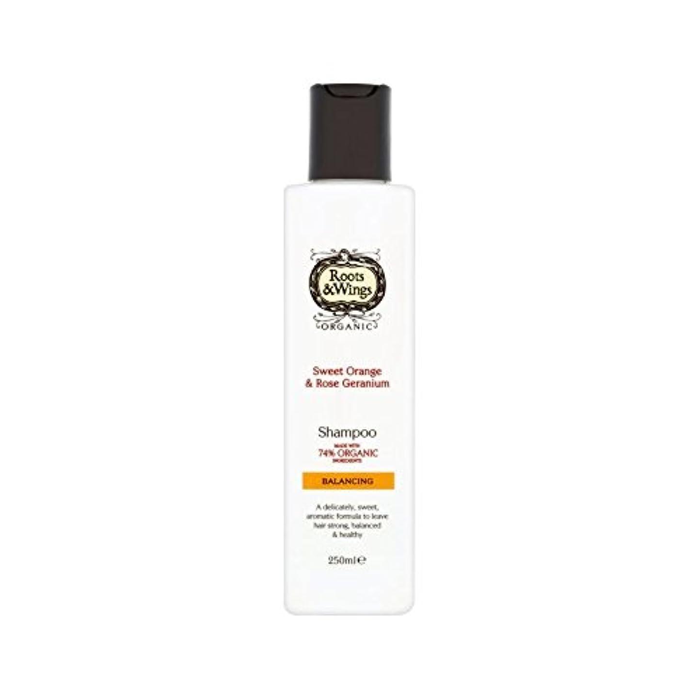ビクター台無しに九時四十五分スイートオレンジ&ゼラニウムのシャンプー250ミリリットルをバラ (Roots & Wings) (x 6) - Roots & Wings Sweet Orange & Rose Geranium Shampoo 250ml (Pack of 6) [並行輸入品]