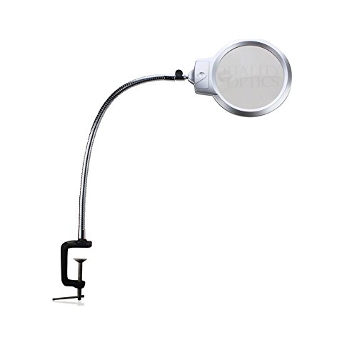 """Quality Optics Long Neck Industrial Series Clamping Workstation Magnifier (5"""" w/ Cyclops, Dual LED)"""
