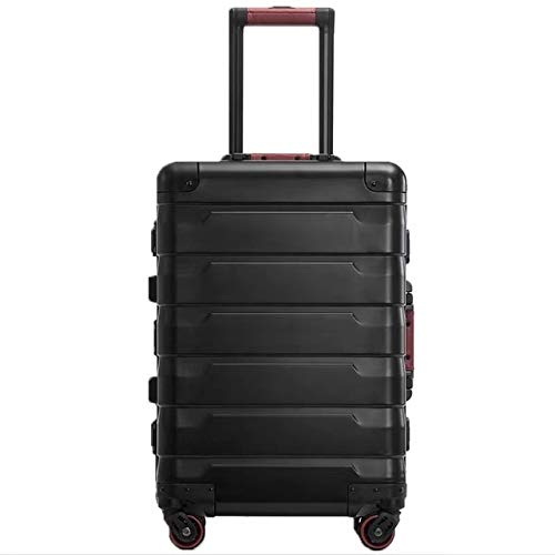 Mdsfe 20'24' inch top aluminum suitcase spinner wheels cabin trolly luggage for traveling - black, 20'