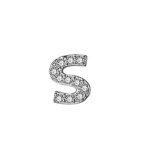 S925 Ladies Temperament Shining Earrings Initial Earrings Zircon 24mm A To Z Capital Letters Women's Earrings Women's Gifts Moms Sisters Girl Friends Birthday Jewelry Gift Earrings Ornament