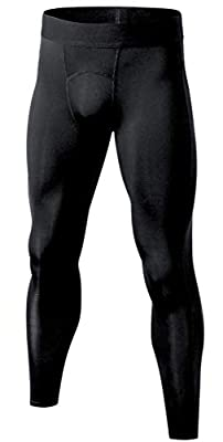 Self Pro Compression Pants Men Baselayer Underwear Winter Cold Weather Thermal Gear (L, Black)