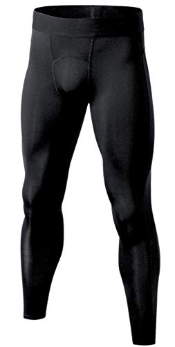 Self Pro Men's Thermal Compression Pants Athletic Sports Leggings Running Tights Cold Weather Winter Warm Base Layer Bottom (Black, Small)