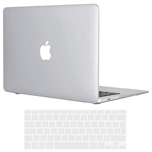 TECOOL Coque MacBook Air 13 Pouces 2010-2017 (Modèle: A1466 / A1369), Mince Plastique Mat Rigide Étui avec Couverture de Clavier en Silicone pour MacBook Air 13.3 - Clair