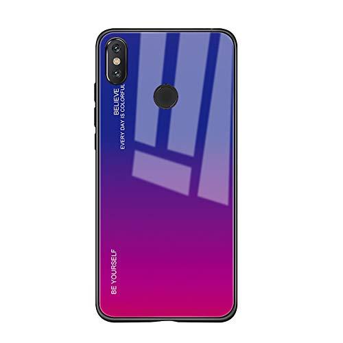 Alsoar Étui compatible avec Xiaomi Mi A2 Lite Coque complète du corps, coque antichoc en silicone ultra fine avec coque arrière en verre trempé pour Xiaomi Mi A2 Lite Viola Rosso