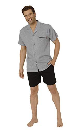 Eleganter Herren Shorty Schlafanzug Pyjama Kurzarm zum durchknöpfen in edler Streifenoptik, Größe2:54, Farbe:dunkelgrau