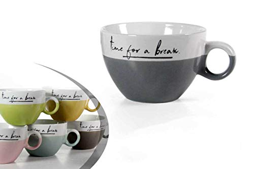 Kasahome Set 4 Tazze in Ceramica da Colazione Cappuccino Tisane Tè Caffè Latte Tazzone Casa Bar 450 ML
