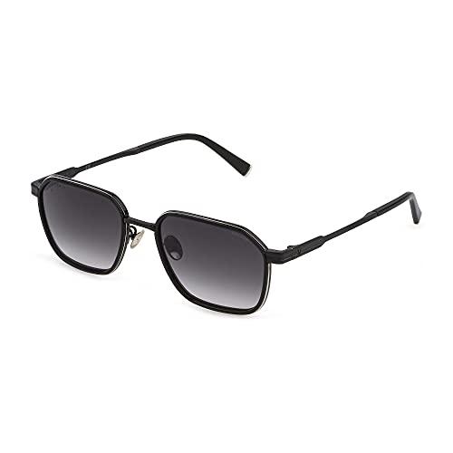 Police Lewis 27 SPLC56 0540 55-19-145 - Gafas de sol unisex, color negro brillante con partes de paladio brillantes, lentes ahumadas degradadas