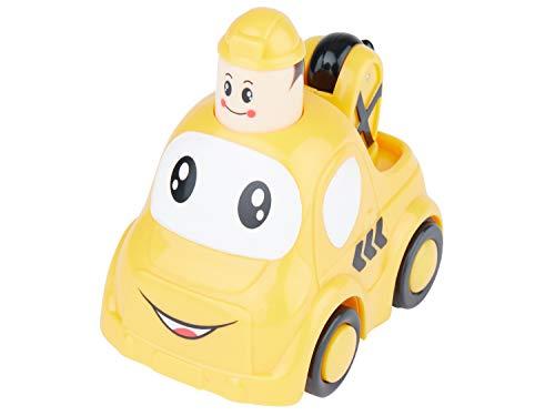 Bieco Drück & Los Flitzer Abschlepper| Spielzeug Auto mit Aufzieh Mechanismus durch Kopf Herunterdrücken | Rückzug Spielzeugautos ab 6 Monaten | Baby und Kleinkind | Auto Baby 1 Jahr | Aufziehbares