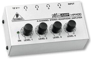 Behringer HA400 - Amplificador de auriculares estéreo (Jack, 4 salidas),...