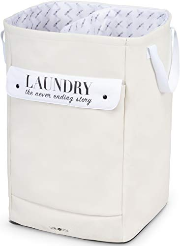 YelloBae Laundry Hamper Sturdy Canvas Fabric Collapsible Portable Clothes Basket with Three Removable Washable Laundry Bags  Double Stitched Webbed Durable Handles Quality Storage Basket Ivory