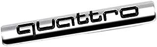 UrMarketOutlet Quattro Black/Chrome Aluminum Alloy Auto Trunk Door Fender Bumper Badge Decal Emblem Adhesive Tape Sticker