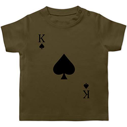 Karneval und Fasching Baby - Pik King Kartenspiel Karneval Kostüm - 18/24 Monate - Olivgrün - Kartenspiel - BZ02 - Baby T-Shirt Kurzarm