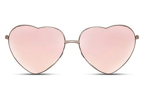 Cheapass Gafas de Sol Metálicas Forma de Corazón Montura Dorada con Cristales Rosas protección UV400 Mujeres