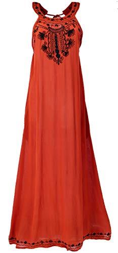 Guru-Shop, Geborduurde Boho Maxi-jurk, Indiase Hippie-jurk, Blauw, Synthetisch, Size:14, Lange Midi-jurken