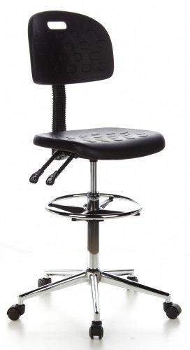 hjh OFFICE 665060 Sgabello da lavoro TOP WORK 23 nero, senza braccioli, robusto, con poggiapiedi, schienale e sedile regolabile in altezza, sedia da lavoro, base cromata, ergonomica, facile da pulire