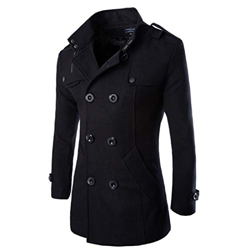 MEHOUSE Homme Manteaux Mi-Long Double Boutonnage Blazer Costume Pardessus Veste Blouson Hiver Chaud Manteau Parka Veste en Fourrure Trench Coat Slim Fit Casual Coat