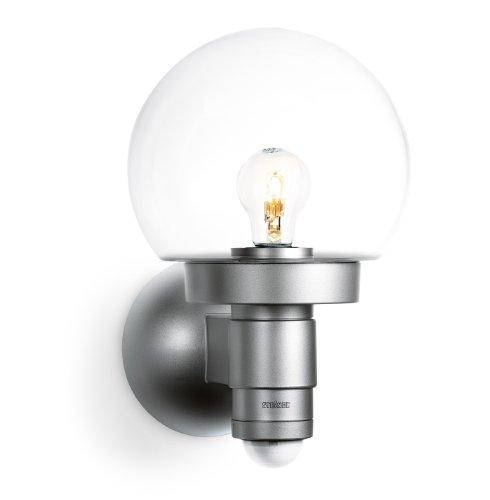 Steinel Sensor-Außenleuchte L 115 S silber, 240° Bewegungsmelder, 12 m Reichweite, Grundlicht, Dauerlicht, Softlicht