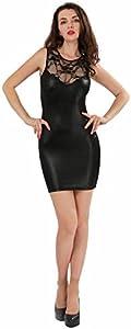 ThreeH Clubwear de Las Mujeres Ropa Interior Atractiva Ropa Interior del Cuero Jumpsuit C4123Black