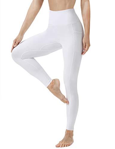 High Waist Yoga Leggings with Pockets for Women Naked Feeling Workout Pants M White