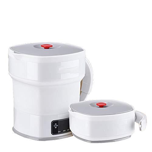 XBSD Opvouwbare waterkoker voor onderweg, snel waterkoken, siliconen, geschikt voor levensmiddelen, klein, inklapbaar, draagbaar, droogkookbescherming, 12 V-240 V, 800 ml.