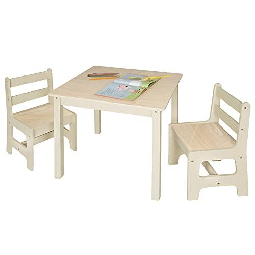 eSituro Mesa para Niños con 2 Sillas Grupo de Asientos y Escritorio para Niños Mesa Infantile con Silla para Bebé Mueble de Juegos 60x60x55cm MDF SCTS0001