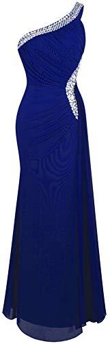 Angel-fashions Damen Eins Schulter Ruschen besetzt Perlstickerei Band Ruckenfrei Lange Kleid (M, Königsblau)
