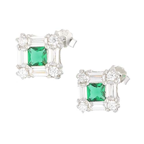 Women's Sterling Silver Simulated Emerald & Simulated Diamond Stud Earrings (11x11mm) | The Perfect Gift For A Special Lady | Jollys Jewellers