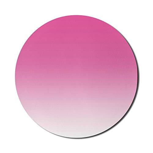 Alfombrilla de ratón Ombre para ordenadores, color rosa intenso, caramelo y crema Girly Elements inspirado en el diseño digital de Ombre, impresión artística, moderno, redondo, antideslizante,