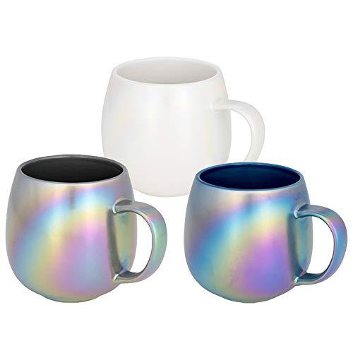 3er Set Keramiktasse für Kaffee und Tee mit schimmernder Oberfläche von notrash2003