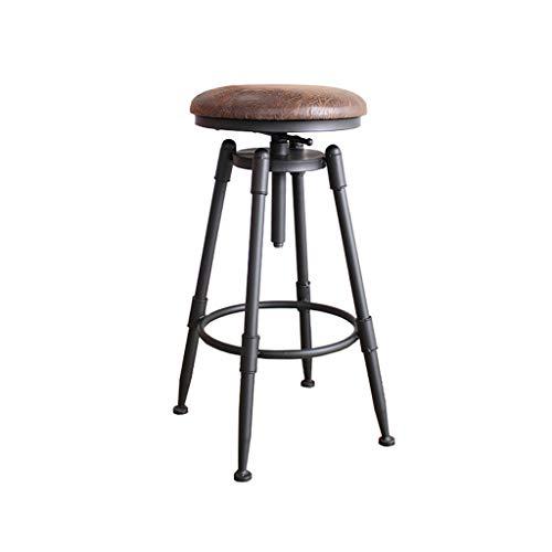 LAXF- Sillas Taburete de Bar Giratorio de Altura Ajustable, Silla de Bar con Altura de mostrador de 27,5 a 38,8 Pulgadas, taburetes de Madera de Estilo Industrial con Acabado Retro, Asiento tapizado