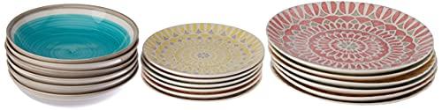 Tognana LS17018M064 Cape Town - Vajilla de 18 piezas, cerámica, multicolor