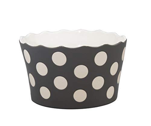 Krasilnikoff Schale Happy Bowl Medium Charcoal mit weißen Punkten H9,5 x Ø 16cm 6115