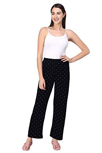 Fflirtygo Soft Cotton Pyjama for Women, Night Dress, Lounge Wear, White Polka Dot on Black Pyjama,–Ladies Soft -Cotton Night Wear