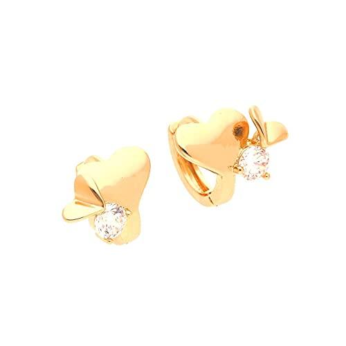 Pendientes de aro con forma de corazón, cristal blanco, oro amarillo 750 laminado*