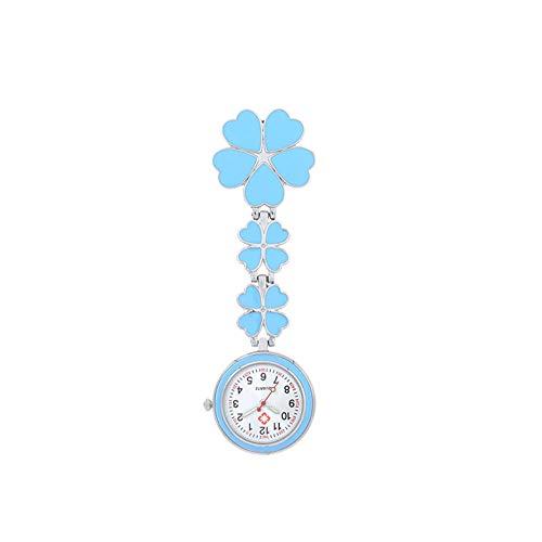B/H Reloj de Bolsillo con Clip,Reloj de Enfermera médica Sakura,Elegante cronómetro para atención médica: Azul Claro,Moda Reloj de Bolsillo Enfermera Colgante