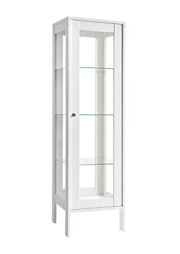 K-Möbel Glasvitrine in Weiß (150x42x40 cm) mit 3 höhenverstellbaren Glasböden aus ESG, LED, Schloss, 4 Seiten Glas; beleuchtet; freistehend; perfekt für Sammler;