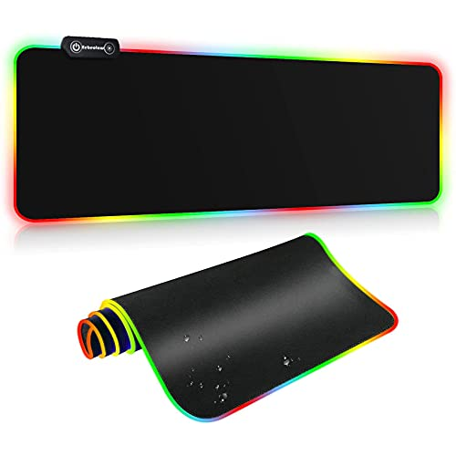 RGB Gaming Mouse Pad, Extended Large Mouse Pad with 14 Lighting Modes, Waterproof and Non-Slip Rubber Base Keyboard Mat Soft Gaming Pad Size 31.5X12 in