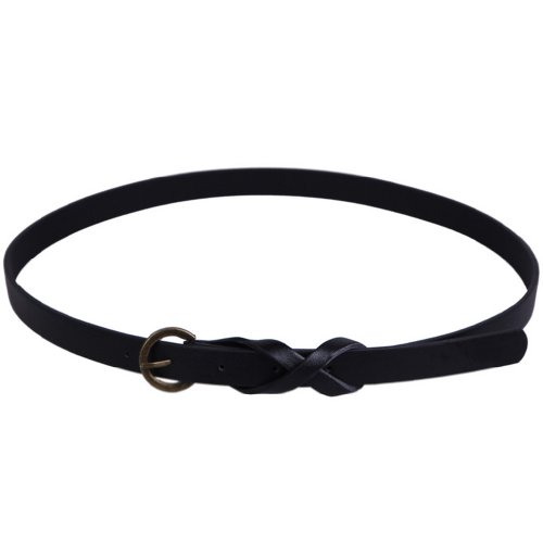 La vogue 1 Stück Damen Ledergürtel Gürtel Belt Schmal Farbe: Schwarz