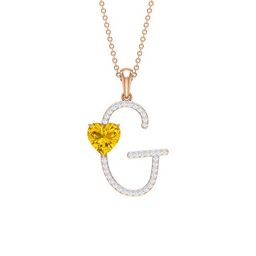 Rosec Jewels 14 quilates oro rosa corazón Round Brilliant Yellow zafiro sintético amarillo Moissanite