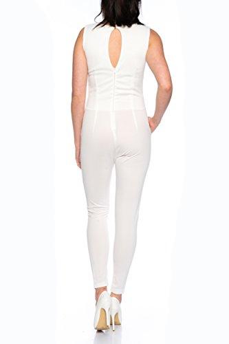 Crazy Age Eleganter Jumpsuit Overall S-XL (S, weiß) - 3