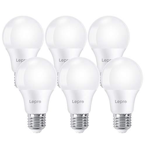 Lepro E27 LED Birne, 8.5 Watt 750 Lumen LED Lampe E27, ersetzt 60W Glühbirne A60 Leuchtmittel E27, 6500 Kelvin Kaltweiß LED Bulb, 6er Set, 200° Energiesparlampe