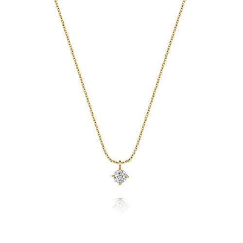 Women's 18ct Gold Vermeil Necklace, Olivia Cooper Isabel Cubic Zirconia Solitare Pendant, 42cm+5cm, Luxury Jewellery Packaging, Mother's Day Birthday Anniversary Present
